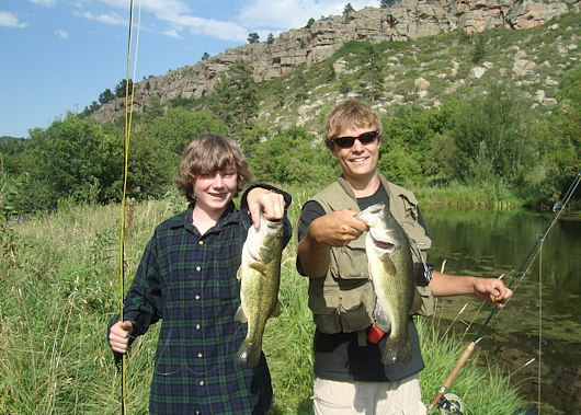 Bass on flies at the Sylvan Dale Ponds during RMF Youth Camp