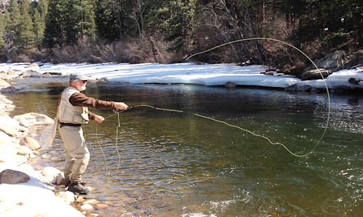 Mark R. Miller on the upper Cache la Poudre before runoff.