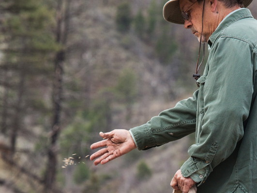 Wil Huett sows the WRV seeds of the future at Skin Gulch. Photo by Guy Turenne.